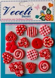 Kit botões  (Fomas diversas) Vermelho - Veceli