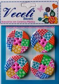 Kit botões Redondos Patchwork com 4 - +- 3 cm cada - Veceli