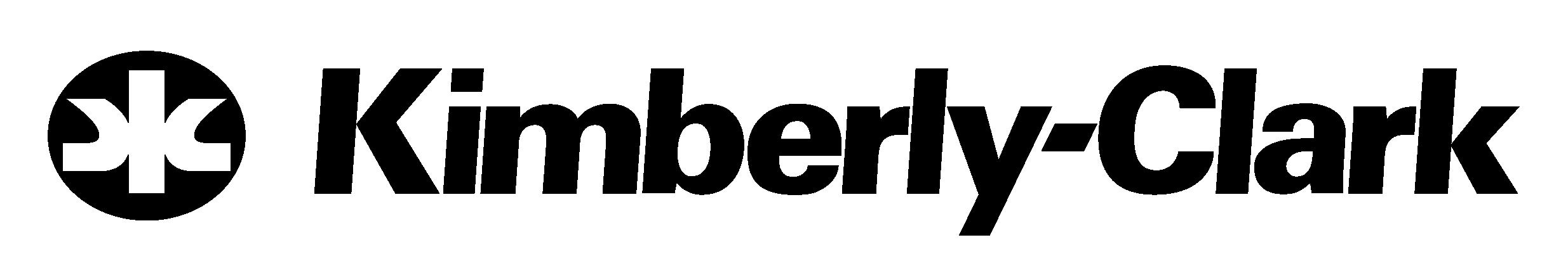 "Logotipo da empresa Kimberly-Clark. O nome ""Kimberly-Clark"" está escrito na cor preta. Do lado esquerdo, há uma forma abstrata."