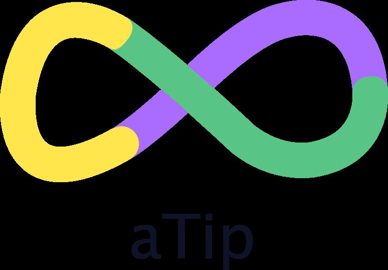 """Logotipo da empresa aTip. A palavra """"atip"""" está escrita em preto. Acima disso, há um símbolo do infinito desenhado em formato livre nas cores: roxo, amarelo e verde."""