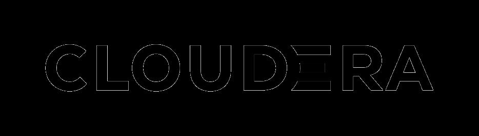"""Logotopo da empresa Cloudera. O nome """"Cloudera"""" está escrito na cor preta. Há uma estilização na letra """"E"""", formando o símbolo de uma base de dados (três linhas paralelas)."""