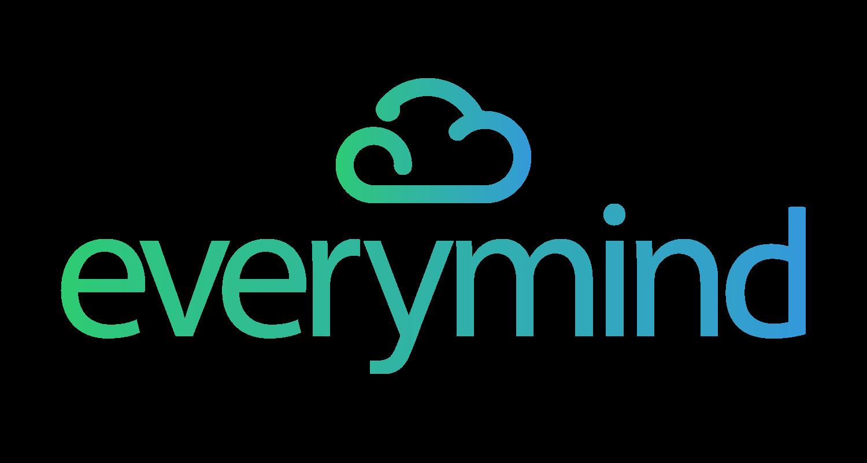 """Logotipo da Everymind. Trata-se de um logo com a palavra """"Everymind"""" em degradê do verde para o azul. Em cima do nome, há uma nuvem ilustrada."""