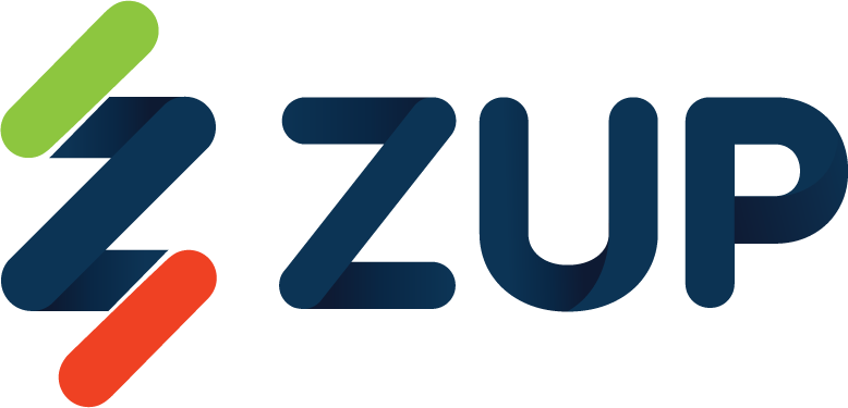 """Logotipo da Zup. Trata-se da palavra """"Zup"""" escrita em alto-relevo. Do lado esquerdo, há o símbolo abstrato que parece um raio - nas cores azul, verde e vermelho."""