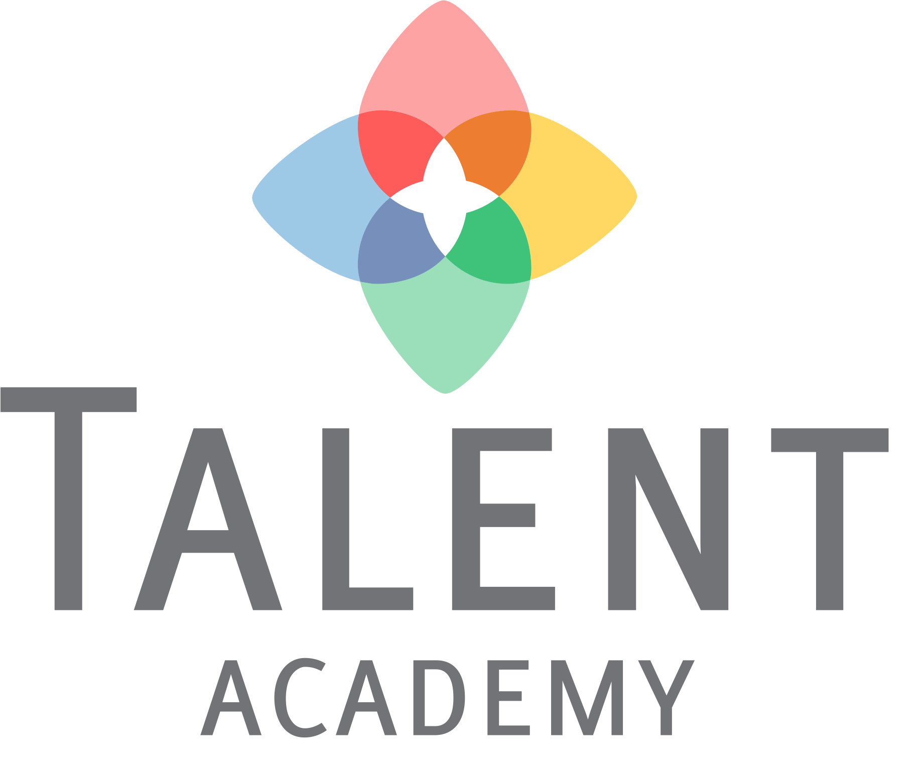 """Logotipo da empresa Talent Academy. As palavras """"Talent Academy"""" estão escritas em cinza. Acima disso, há uma forma de flor em quatro cores: vermelho, azul, amarelo e verde."""