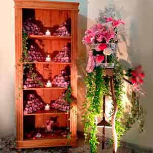 Estante de madeira -locação de peças decorativas