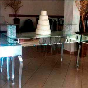 Mesa espelhada (central) -locação de peças decorativas