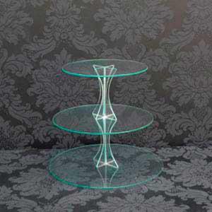 Suporte de vidro 3 andares-locação de peças decorativas