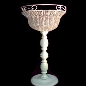 Vaso cristal com pé de madeira GG -locação de peças decorativas