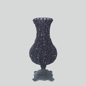 Vaso pedras pretas bojudo P-locação de peças decorativas