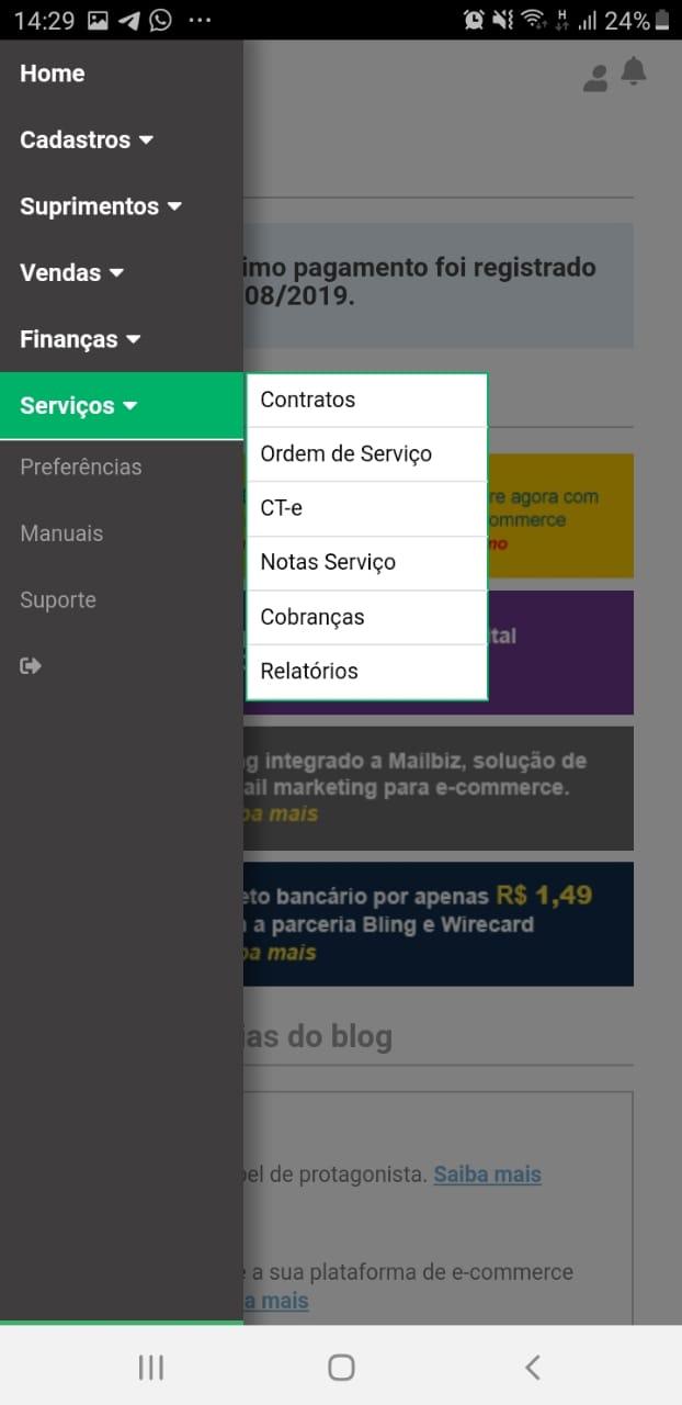 Como Configurar o Bling App - Serviços