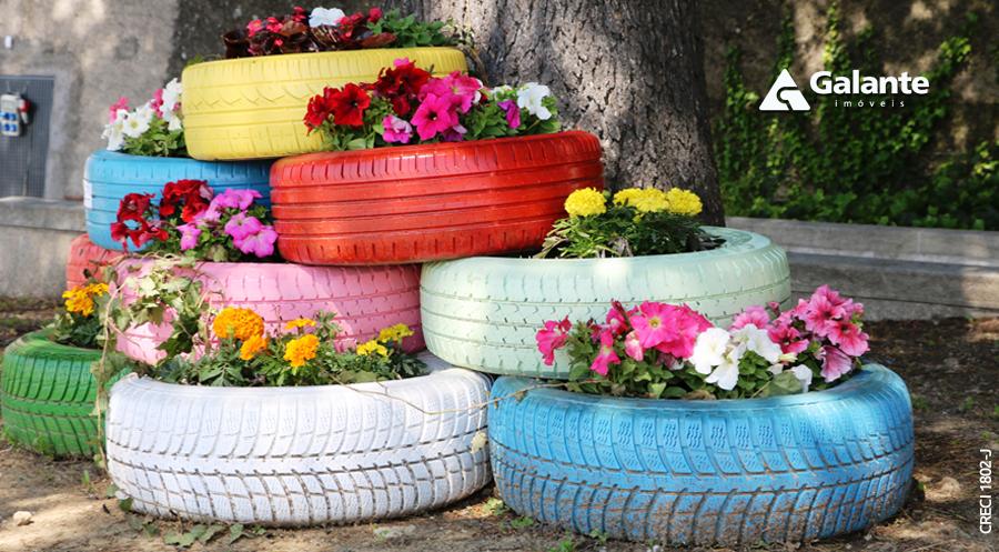 Dicas para usar pneus como vasos de plantas e flores