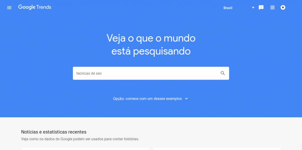 Google Trends Página Inicial