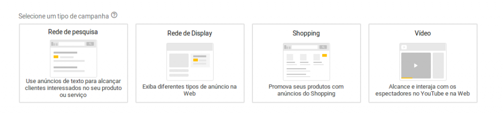 Escolha a opção rede de display para direcionar o seu anuncio